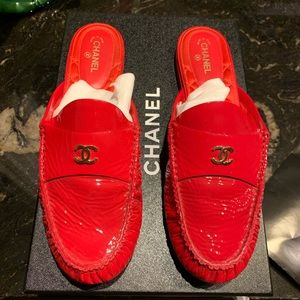 Chanel Red Patent CC Olympus Mules